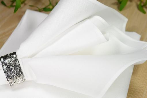 Napkin, half-linen, 50*50cm, heavy quality, white, narrow seam