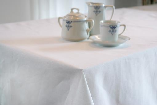 """Tablecloth """"Ebba"""", white, hemstitch, various sizes"""