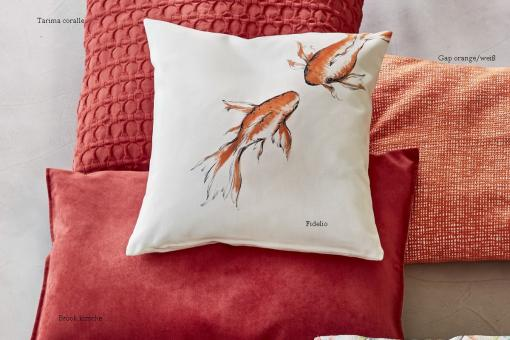 Fidelio, digital print, painted goldfish, cotton, cushion cover, graphite/orange