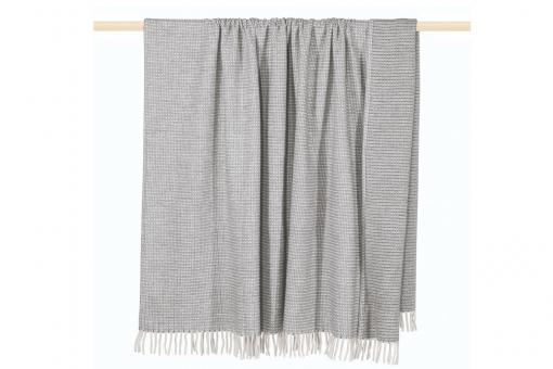 Classic, light, cozy plaid with woven structure and fringes, plaid, grey