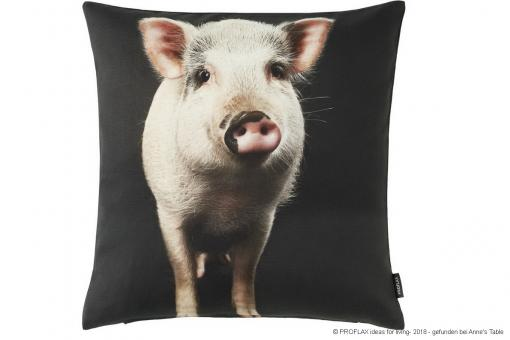 Fridolin, digital printing, lucky pigs, cushion cover, graphite/nature