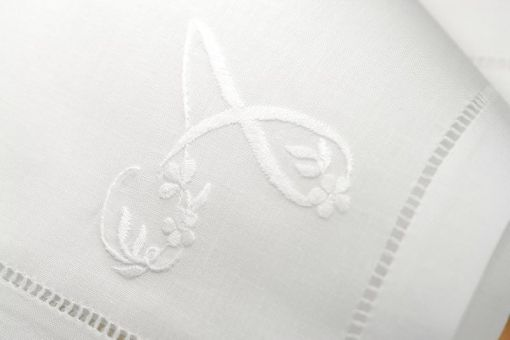 Napkin monogrammed, hand-embroidered -