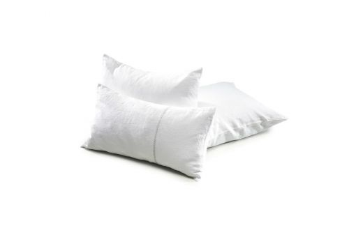 Heritage, decorative pillow with embroidery, organic linen, white