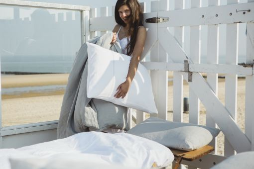 Heritage, pure linen bed linen in 4 colours, fitted sheets, ash (light grey)