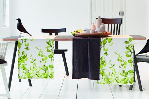 May, print with photorealistic beech leaves, satin, table runner 50x170cm, green
