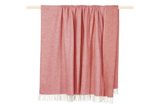 Classic, light, cozy plaid with woven structure and fringes, plaid, pink