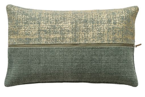 SURI, current patchwork design with striking metallic print and zipper, cushion cover, jade