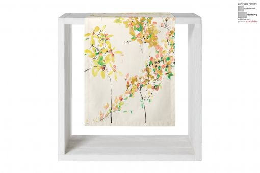 Malmby, Right-left-matched print with yellow flowers and branches, satin, table runner 50x170cm, lime