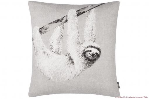 Fufu, digital print, painted sloth, structured cotton, cushion cover, graphite/nature