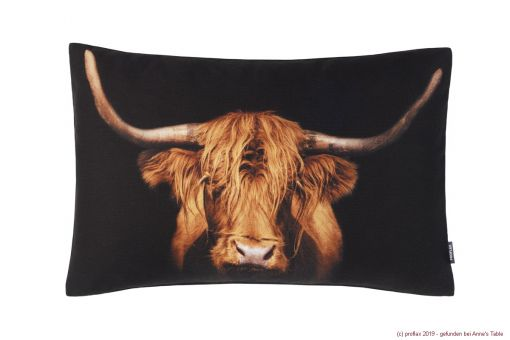 Highland, digital print, highland beef, textured cotton, cushion cover, amber