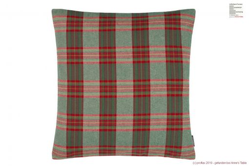 Larsen, woven check, soft brushed cotton, cushion cover, green