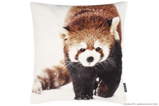 Rusty, digital print, red panda, structured cotton, cushion cover, amber