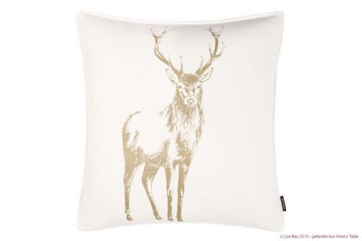 Tomke, painted stag, gold-gloss print, structured cotton, cushion cover, gold