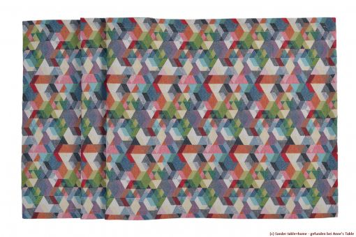 Cubes, jacquard, cube design, table runner, coloured
