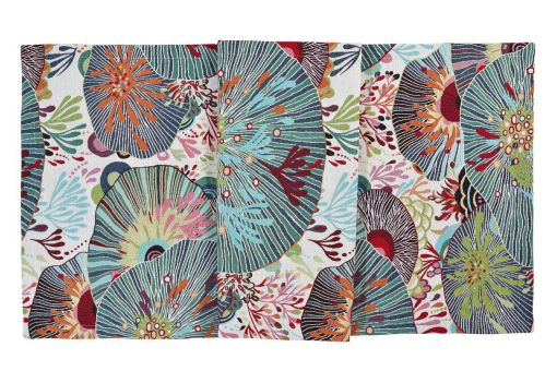 Sea Flowers, jacquard, coral dessin, tablecloth, runner, white / colored table runner 50x140cm, white / colored