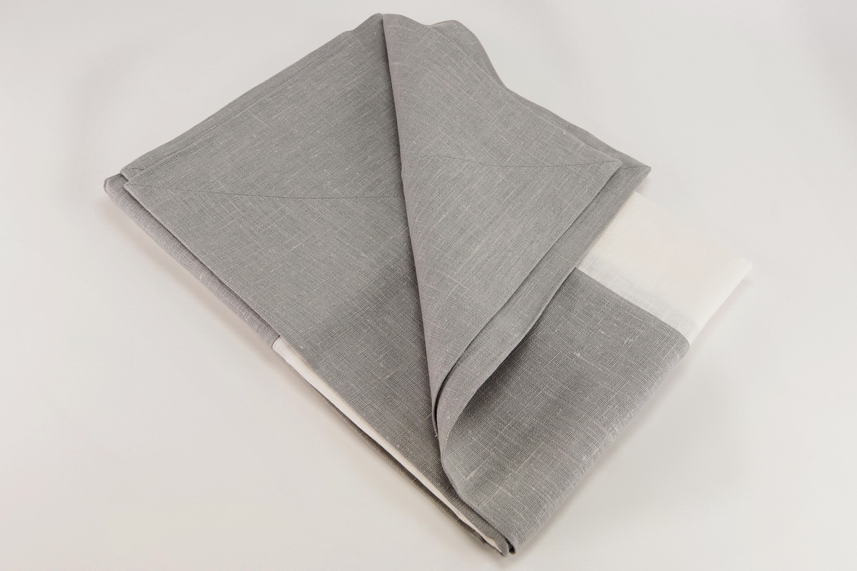 Tovagliolo, tablecloth, strong linen, wide attached hem, creamy white /  light gray, 180x270cm