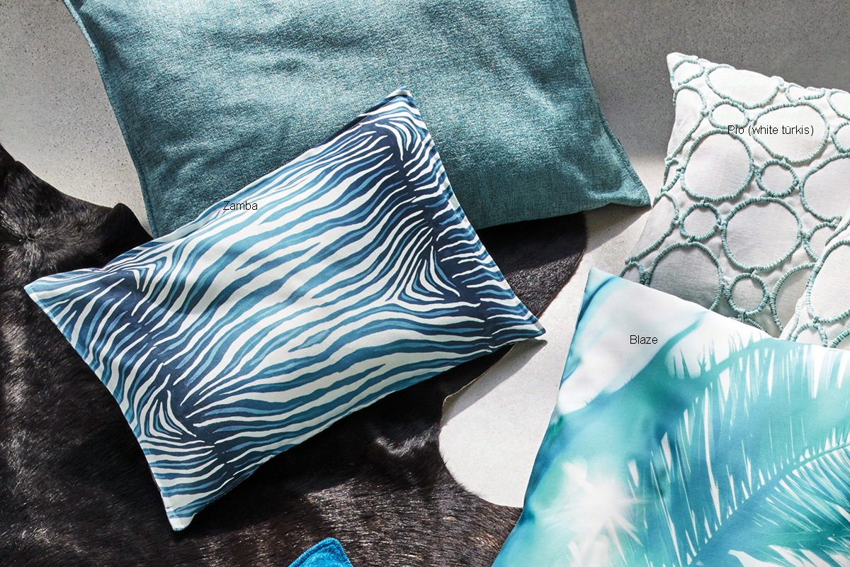 annes table zamba digital print stylized blue zebra skin cushion cover fiord online shopping. Black Bedroom Furniture Sets. Home Design Ideas